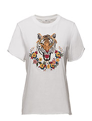 Embroidered panel t-shirt - NATURAL WHITE