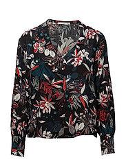 Floral print shirt - BLACK
