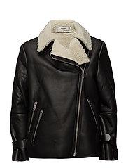 Faux shearling-lined biker jacket - BLACK