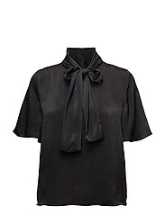 Bow satin blouse - BLACK