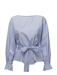 Striped bow blouse - LT-PASTEL BLUE