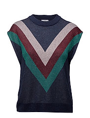Striped knit top - NAVY