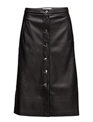 Buttoned midi skirt - BLACK