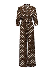 Polka-dot long jumpsuit - BROWN