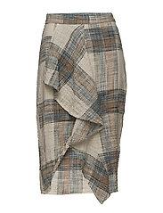 Ruffled checked skirt - LT-PASTEL BLUE