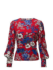 Floral print blouse - RED