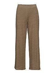 Straight textured trousers - BROWN