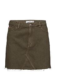 Frayed edges denim skirt - BEIGE - KHAKI