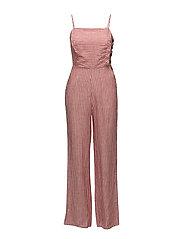 Linen-blend striped jumpsuit - RED