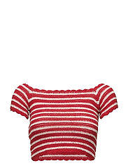 Striped crochet top - RED