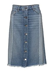 Combined design denim skirt - OPEN BLUE