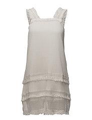Frayed edges dress - NATURAL WHITE
