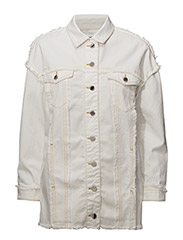 Contrasted seams denim jacket - LIGHT BEIGE