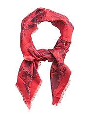 Flowers printed scarf - MEDIUM RED