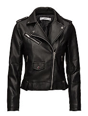 Appliqu biker jacket - BLACK