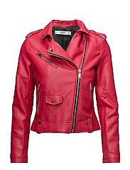 Appliqu biker jacket - MEDIUM RED