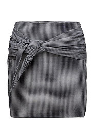 Knot checked skirt - BLACK