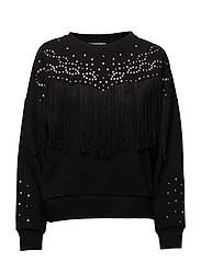 Studded fringed sweater - BLACK