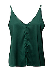 Buttoned satin top - DARK GREEN