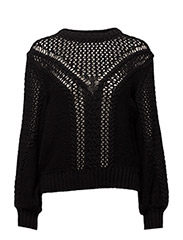Openwork knit sweater - BLACK