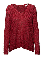 V-neckline sweater - RED