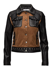 Studded mixed jacket - BLACK