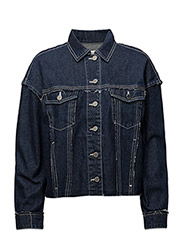 Contrasted seams denim jacket - OPEN BLUE