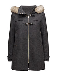 Faux fur hooded coat - DARK GREY
