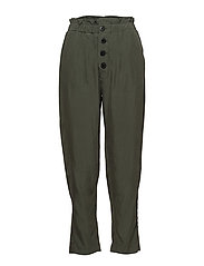 Buttoned modal trousers - BEIGE - KHAKI