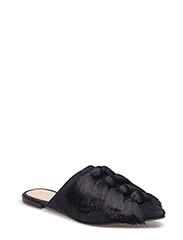 Fringed leather shoes - BLACK