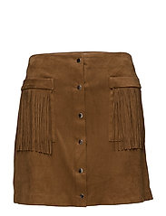 Pocket fringed skirt - MEDIUM BROWN