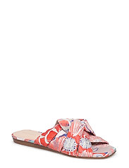Embroidered slingback sandals - BRIGHT RED