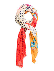 Contrasting print scarf - YELLOW