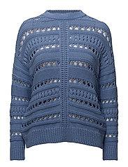 Open work-detail sweater - MEDIUM BLUE