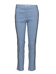 Straight linen-blend trousers - MEDIUM BLUE