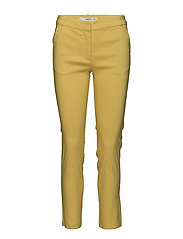 Straight linen-blend trousers - YELLOW