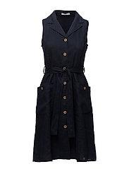 Detachable belt dress - NAVY