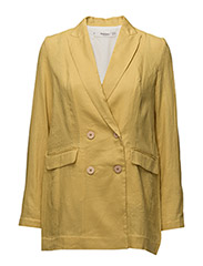 Linen double-breasted blazer - BRIGHT YELLOW