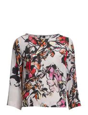 Printed flowy blouse - Bright red