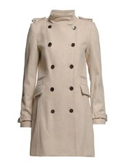 Double-breasted wool-blend coat - Natural white