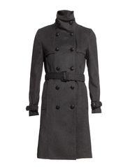 Double-breasted wool-blend coat - Dark grey