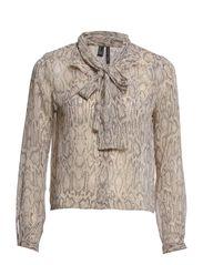 Bow snake-print blouse - Light beige