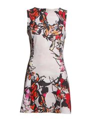 Floral neoprene-effect dress - Bright red
