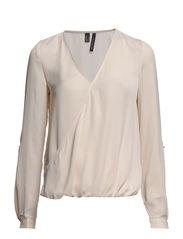 Wrap v-neckline blouse - Light beige