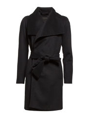 Lapels wool-blend coat - Dark grey