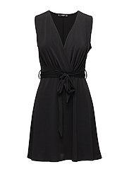 Bow wrap dress - BLACK
