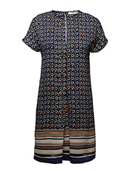 Contrasting print dress - MEDIUM BLUE