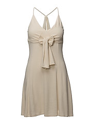 Bow knitted dress - LIGHT BEIGE