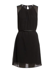 Chain-belt plumeti dress - Black