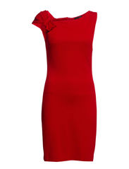 Pleated shoulder dress - Bright red